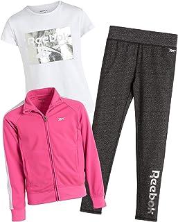طقم ملابس رياضية للفتيات من ريبوك مع تي شيرت وبنطال ضيق وسترة تريكو (3 قطع)