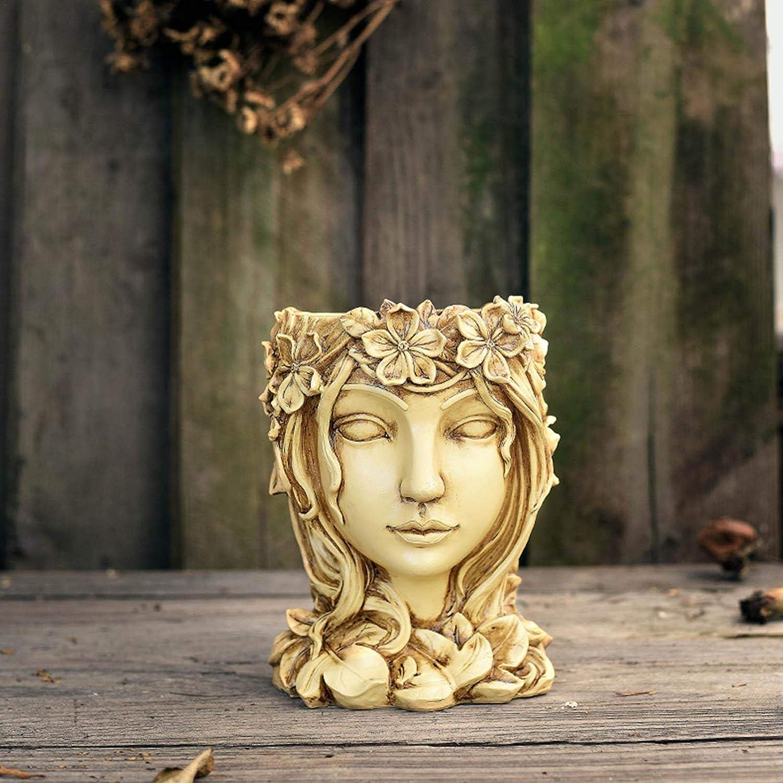 Vaso da Fiori per Giardino Interno Esterno HJUI Vaso da Fiori in Resina 6,22✕ Statua della Piantatrice della Testa della Dea Ornamento del Giardino del Vaso di Fiori della Statua del Viso