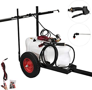 Happybuy Trailer Sprayer 15.8-Gallon Pull Behind Sprayer 12-Volt Tow Behind and Spot Sprayer 5.5 ft for Garden Farm