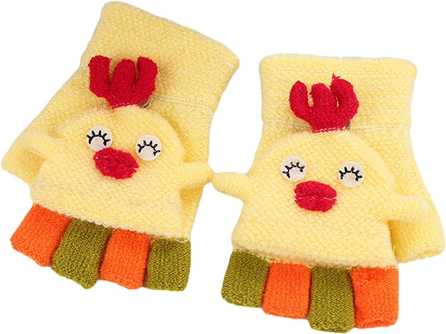 1-5 Years Kids Convertible Mittens, Chick Knitted Chunky Thermal Girls Winter Gloves for Holiday