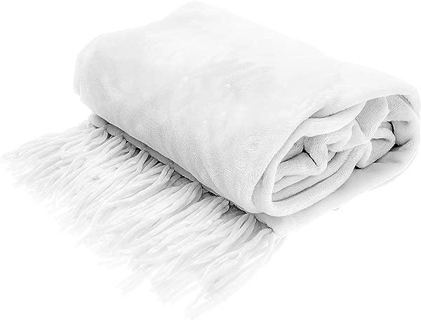 Style Basics Silky Soft Thick Plush Fringe Throw Blanket White Fringe Throw 50 X 70
