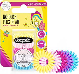 invisibobble Kids Spiral Hair Ring - 5 Pack, Crayola Edition- No-Ouch Coil Hair Ties with Strong Grip- Hair Accessories fo...