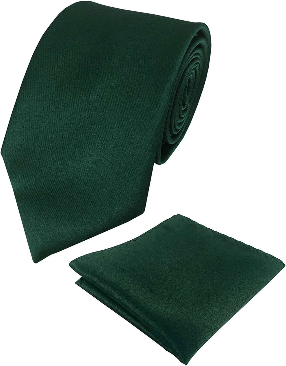 KOOELLE Mens Satin Silk Solid Ties for Tuxedo Pure Colors Neckties & Pocket Square Set