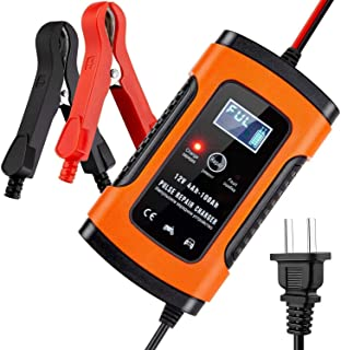 Bilbatteriladdare och underhållare 12V 3-stegs automatisk batteriladdare för bilmotorer (orange)
