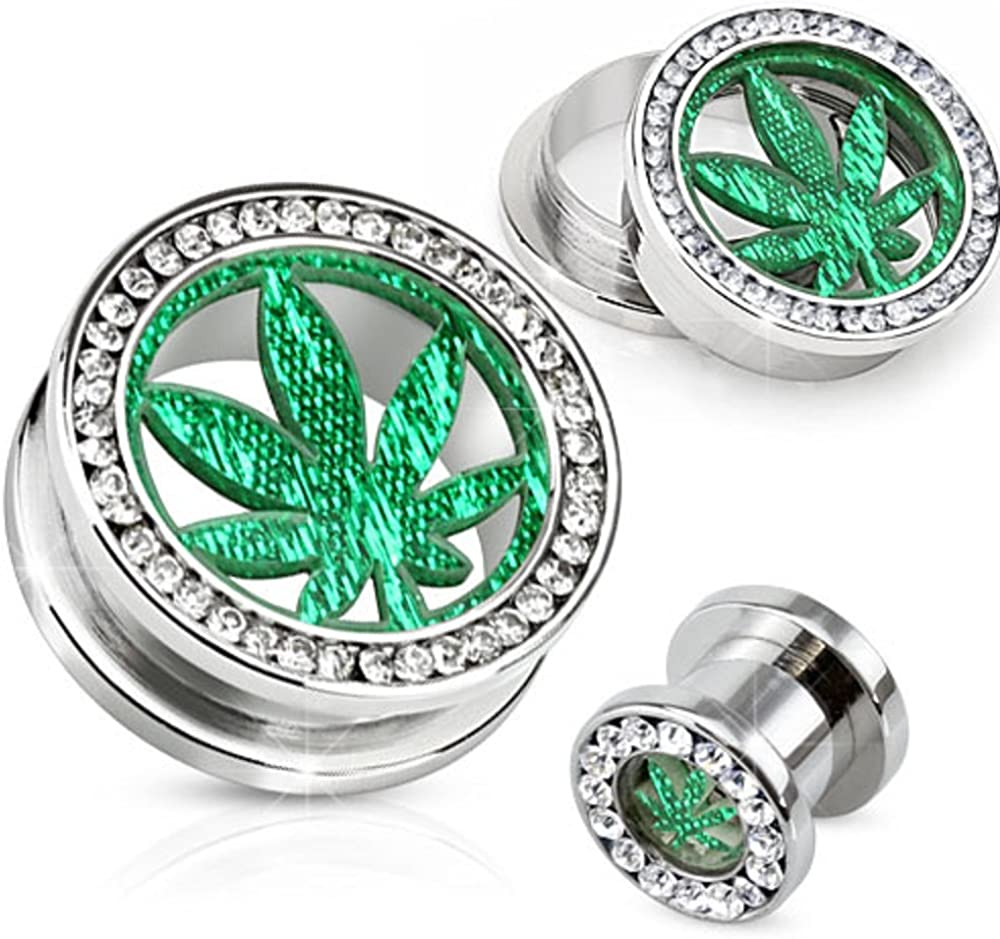 Body Accentz plugs Surgical Direct sale of manufacturer Steel Max 85% OFF Screw Pot Gemm Tunnel Fit Leaf
