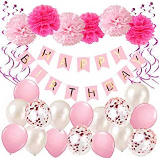 Ohighing Birthday Decorations, Pink Happy Birthday Decorations for girls, Happy Birthday Banner, Hanging Swirls, Paper Garland for 1 Birthday Decorations, Birthday Party, girls Birthday