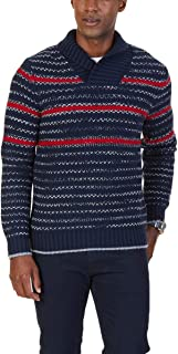 Men's Shawl Collar Striped Textured Knit Pullover Sweater