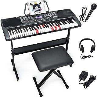 Costzon 61-Key Electronic Keyboard Piano w/Lighted Keys, Bui