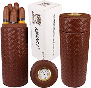 AMANCY Fancy Woven Texture Brown Leather Cigar Tube Case,Cedar Wood Lined Portable Travel Cigar Humidor