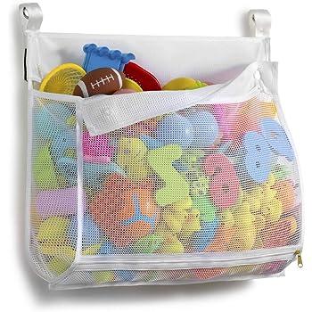 Tenrai Clever Zippered Mesh Bath Toy Organizer, Multiple Ways to Hang, Extra Large Opening Bathroom Toy Holder, Large Capacity Multi Use Bathtub Toy Storage Bag(1 Large , White)