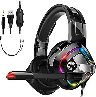 ゲーミングヘッドセット RGBライト PS4 ヘッドホン 高音質 ノイズキャンセリング マイク付き ゲーム向け サラウンド対応 延長ケーブル 有線3.5mm 音楽 通話 Xbox One/Nintendo/Switch//タブレット/PC/スマホ に対応 (ブラック)