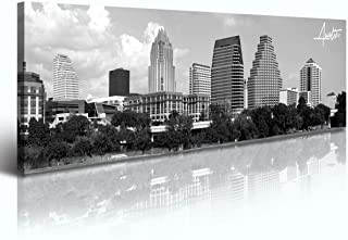 Austin Skyline Wall Art – Black and White Canvas Prints City Pictures Poster..