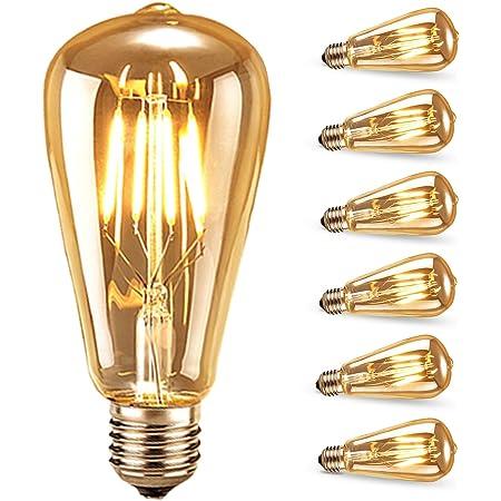 Ampoule LED Edison,Samione Lampe Décorative Ampoules à incandescence Rétro Edison Ampoule Antique Lampe 6 Pack [Classe énergétique A++]