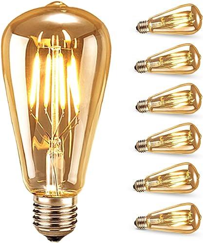 Ampoule LED Edison,Samione Lampe Décorative Ampoules à incandescence Rétro Edison Ampoule Antique Lampe 6 Pack [Class...