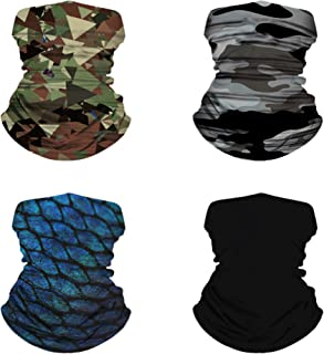4 PACK Bandana Headband Buff Head wrap Face Mask Scarf Soft Stretchy Material for Men Women for Running Cycling Hiking Yog...
