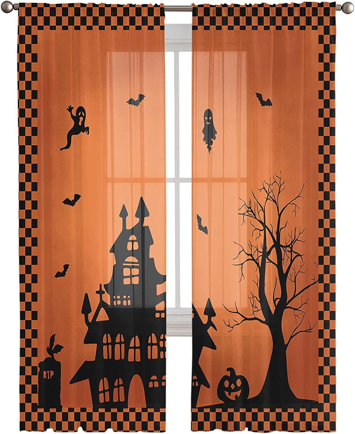 Sheer All items in the store Window Curtain Panels Gifts Happy Dead Haunted T House Halloween