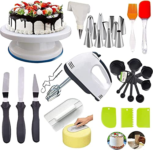 Yuvein Enterprises Cake Decorating Items Cake Turntable Nozzle Set Electronic Beater scrapers for Cake Measuring Cups and Spoons Silicon Brush Spatula Smoother for Cake