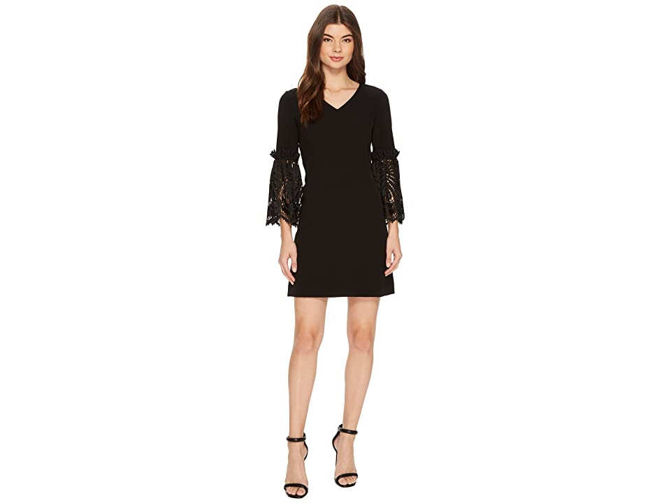 Tahari by ASL Lace Bell Sleeve Shift (Black) Women