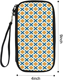Kids Multi Function Passport package,Checked Pattern with Dashed Lines and Squares Diagonal Geometrical Retro Tile for Airport,9