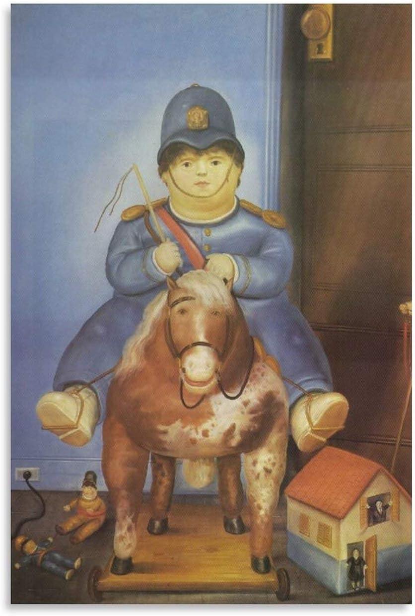 RHJJ Póster de Fernando Botero Pedro a caballo con impresión sobre lienzo para pared, arte de pared, decoración moderna para el hogar, obras de regalo, 30 x 45 cm