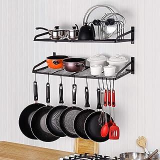 soporte de pared para colgar ollas y especias Estante de cocina estante de cocina y sart/én con 10 ganchos en forma de S 45 cm