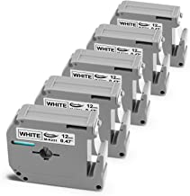 Anycolor Compatible Label Tape M231 MK231 M-K231 Tape 12mm 0.47 Inch Black on White for P-Touch Label Maker PT-M95 PT-70BM PT-90 PT-70 PT-65 PT-85, 1/2 Inch x 26.2 Feet, 5-Pack