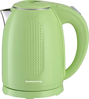 Ovente BPA-Free Cordless Electric Kettle with Auto Shut-Off, Double-Walled Stainless Steel, 1100W, 1.7L, Green (KD64G)