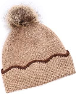 ZOLEAROPY Slouchy Knit Beanie Cap Hat for Women Girls Winter Knit Skull Hat Faux Fur Pom Pom Hat Soft Warm Ski Hat