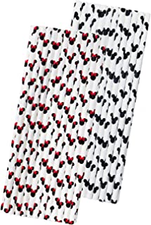 Mickey and Minnie Mouse Inspired Paper Straws - Mouse Ears Pattern - Black Red White - 7.75 inches - 50 Pack - Outside the Box Papers Brand