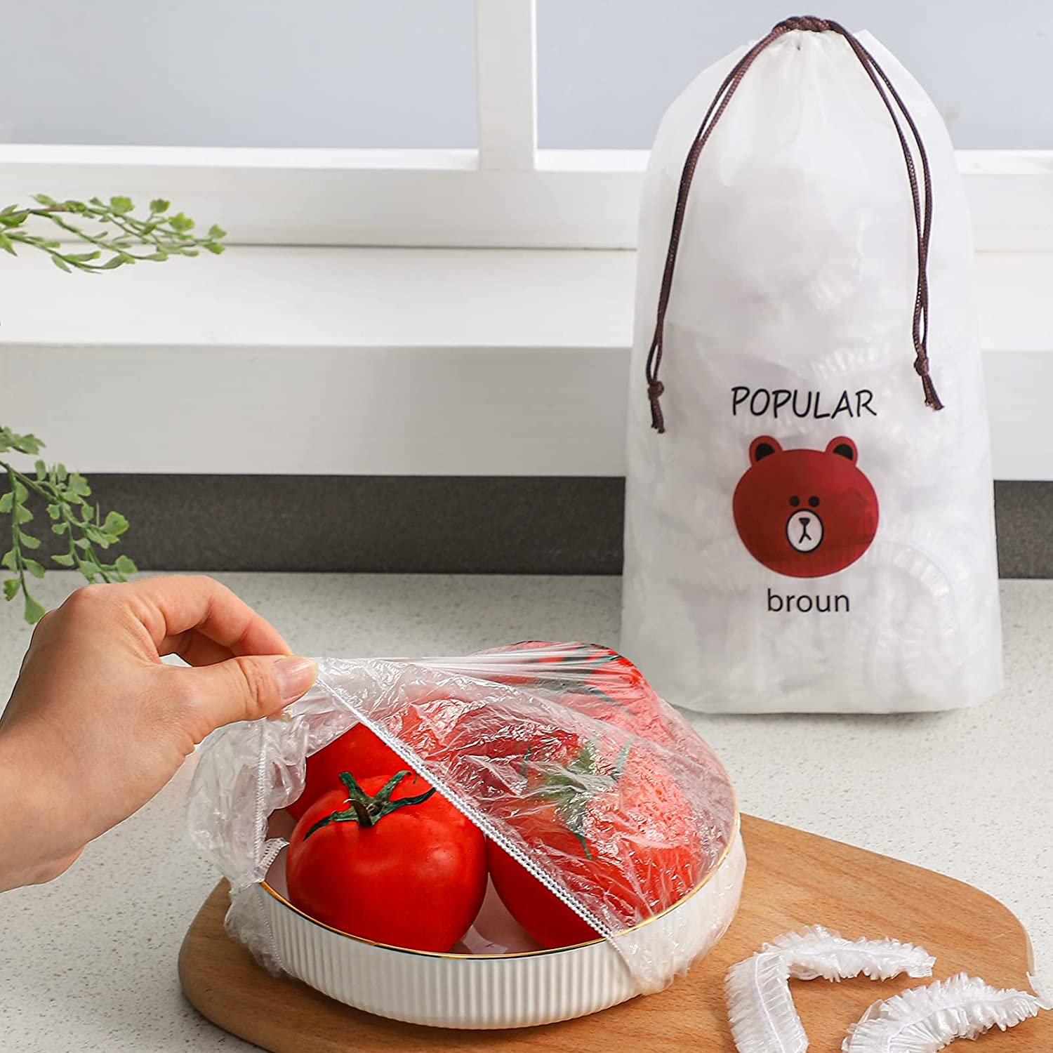 100pcs Fresh Keeping Bags Food Covers, GONGQIN Elastic Food Storage Covers Plastic Stretch Wraps Bowl Dish Plate Lids Caps Wrap for Storing Leftovers and Fruits for Outdoor Picnic Kitchen