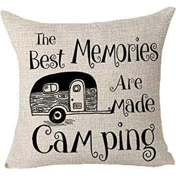 """FELENIW The Best Memories are Made Camping Throw Pillow Cover Cushion Case Cotton Linen Material Decorative 18"""" x 18'' inches"""