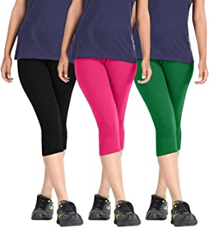 ROOLIUMS ® (Brand Factory Outlet Womens Cotton Capri Combo Pack of 3, 4 Way, 190 GSM - Free Size (Black, Pink, Green)