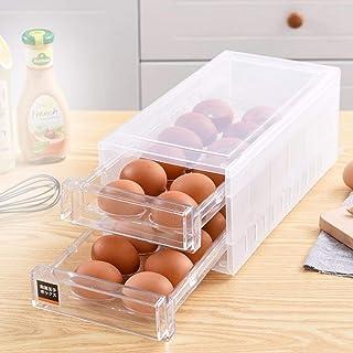 MOVKZACV Boîte à œufs pour réfrigérateur avec 24 compartiments, bac de rangement avec couvercle, design de tiroir double c...