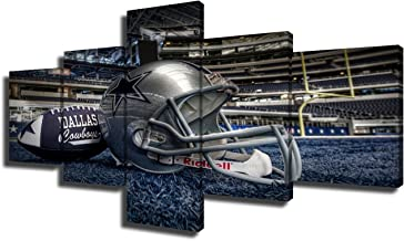 5 Panel Dallas Cowboys Canvas Prints Painting Wall Art NFL Sport Home Decor Framed Pictures Modern Artwork Home Decor for Living Room Giclee Gallery-wrapped Stretched Ready to Hang(50''Wx24''H)