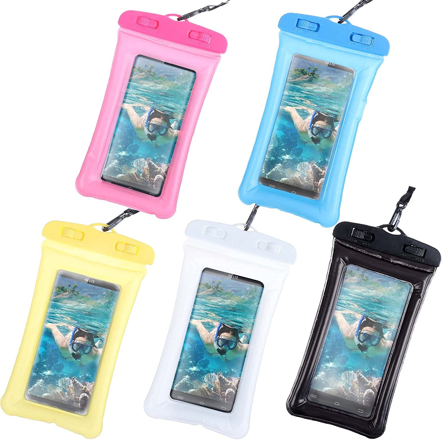 5 Pack Waterproof Case Universal Waterproof Pouch Cellphone Dry Bag Underwater Case Compatible for iPhone 12/12 Pro/11/11 Pro/SE/Xs Max/XR/8P/7 Galaxy up to 6.2