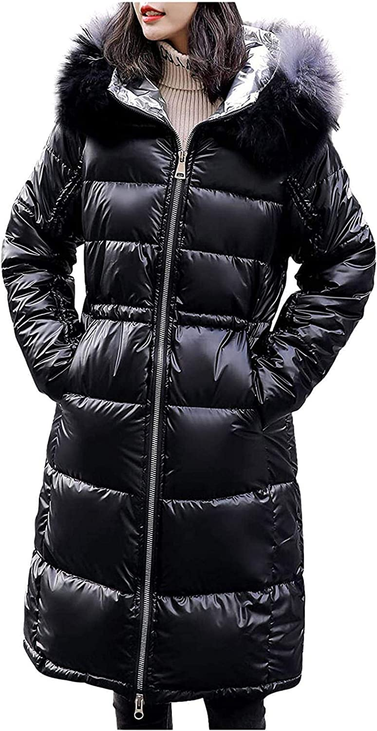 Womens Winter Coats Fashion Casual Glossy Mid-Length Padded Quilted Lightweight Jackets with Faux Fur Hood