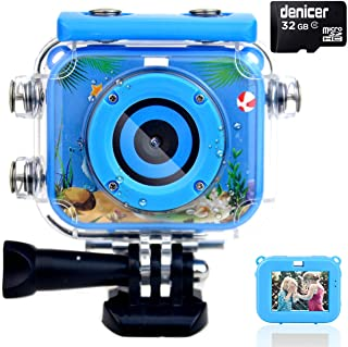 denicer Waterproof Kids Camera with 2.0 Inch HD Display 12MP Photo Resolution & 1080P Video Resolution with 32G SD Card Underwater Children's Camera for 4-12 Boy Birthday/ Festive Gifts-Be