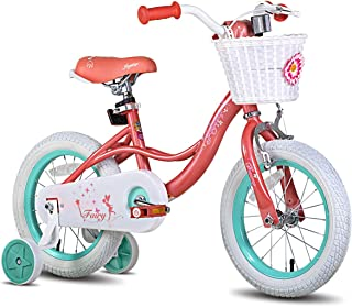 "JOYSTAR Fairy 12"" 14"" 16"" 18"" Inch Kids Bike with Training Wheels for 2-9 Years Old Girls (Corel & Pink, Purple)"
