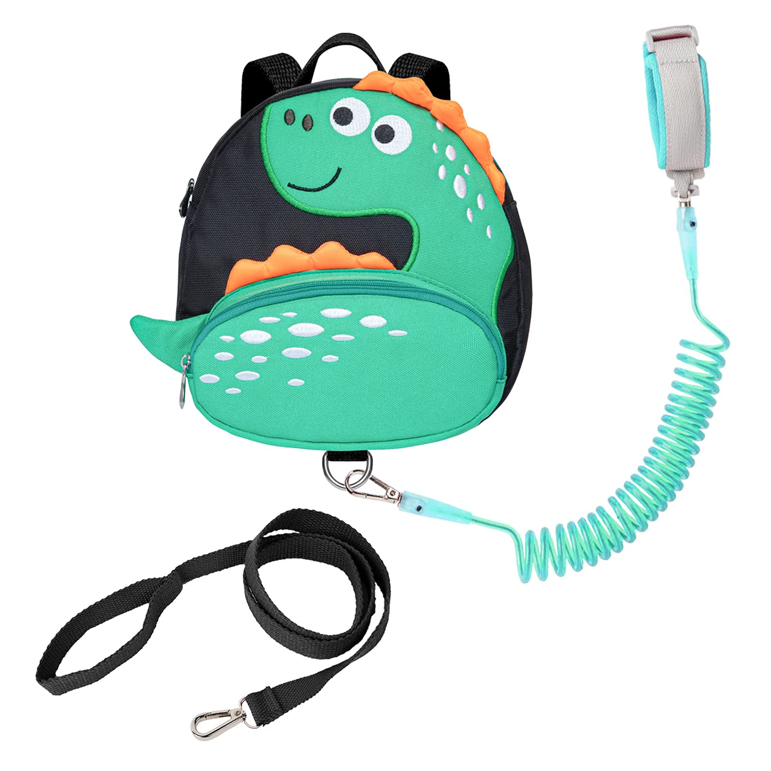Dinosaur Toddlers Leash Backpacks with Anti-Lost Wristlets Child Kids Wrist Link (Green)