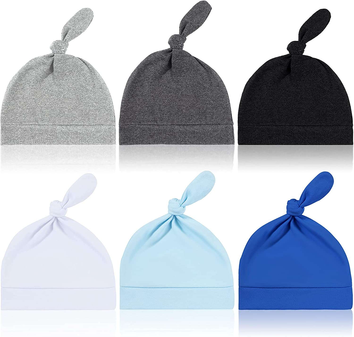 6 Pieces Unisex Baby Beanie Hat Infants Soft Knotted Caps Newborn Baby Hat Top Knotted Baby Beanie for 0-6 Months Baby Boys Girls
