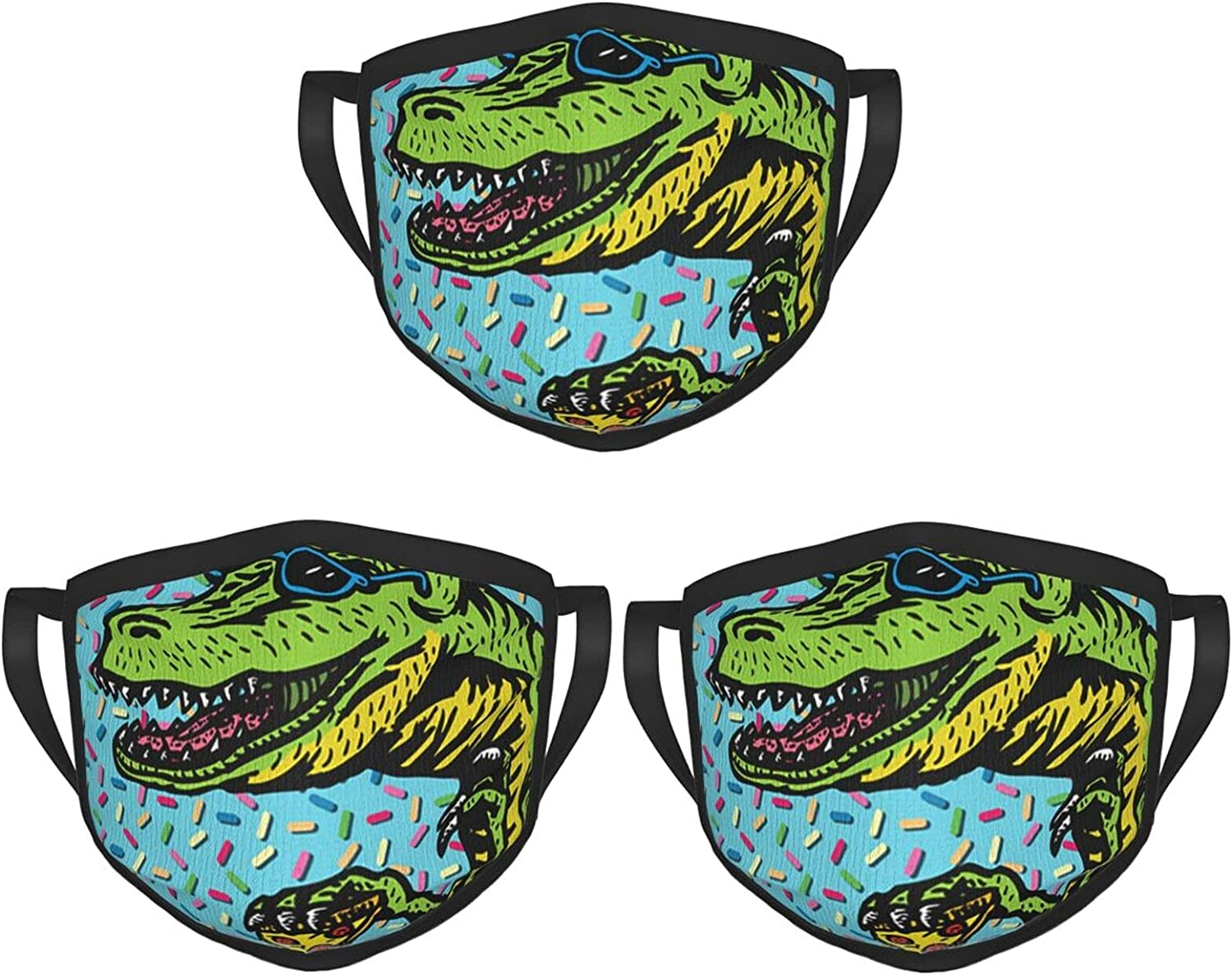Balaclava Earmuffs Funny Saurus Rex With Glasses Eat Pizza Face Mouth Cover Mask Reusable Windproof Scarf Towel Cover Headwrap