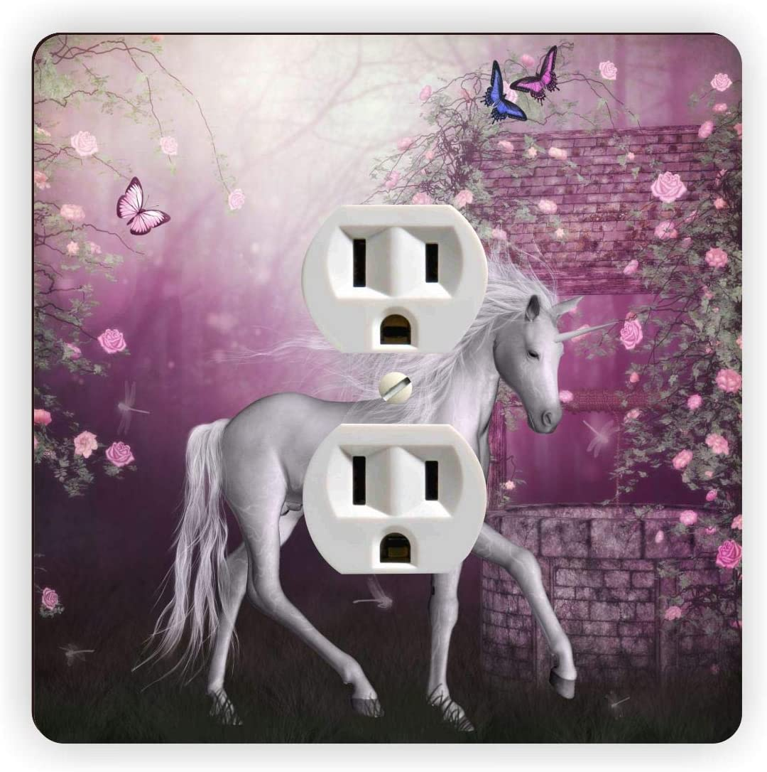 Unicorn wallpaper pink Switch Outlet Toggle /& more Wall Cover Plate Home decor