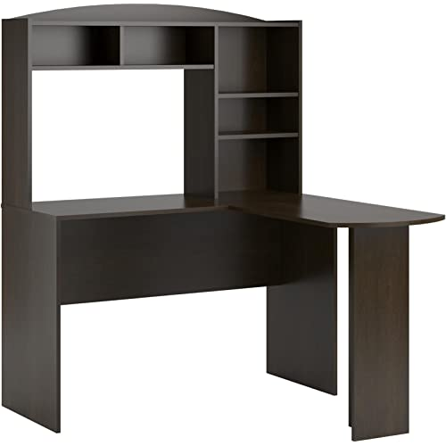 Amazon Com Ameriwood Home Dakota Space Saving L Desk With Hutch Dark Russet Cherry Furniture Decor