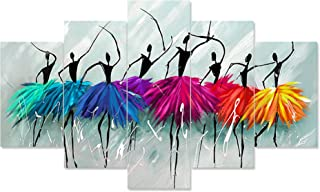Saumic Craft Set Of 5 Dancing African Ladies Modern Art Nature Scenery Framed Wall Painting For Home Decoration , Living R...