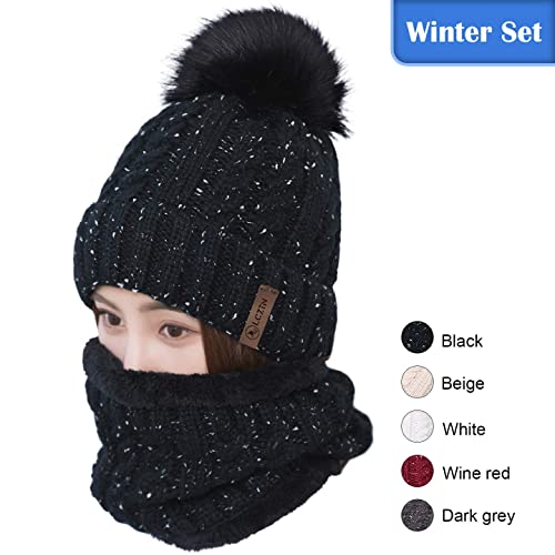 7e7e99c73d4310 LCZTN Womens Pom Beanie Hat Scarf Set Girls Cute Winter Ski Hat Slouchy Knit  Skull Cap