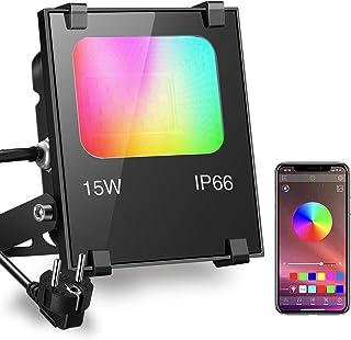 comprar comparacion iLC Foco LED RGB de Colores 15W Inteligente Controlado por la Aplicación de Teléfono Foco Proyector Exteriores - IP66 Impe...