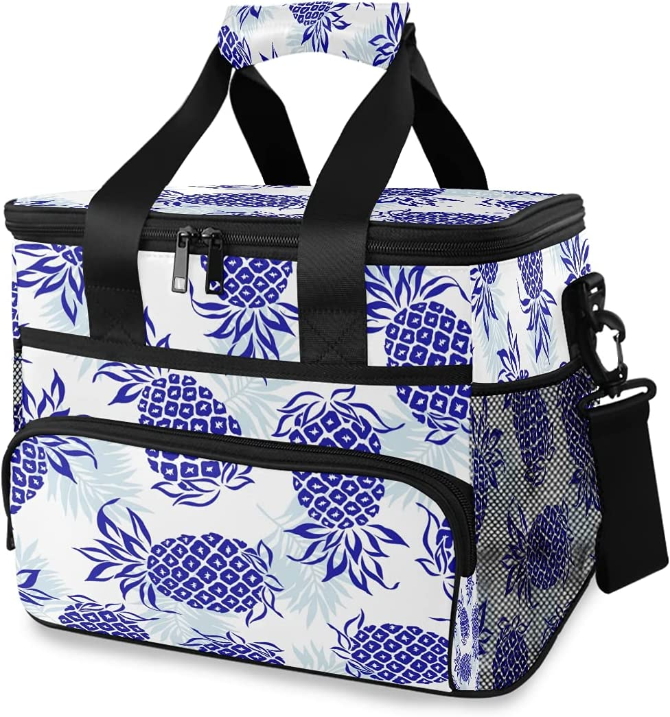 HMZXZ Large Lunch Bag Tropical Many popular brands Max 87% OFF 24-Can Blue 15 Pattern Pineapple