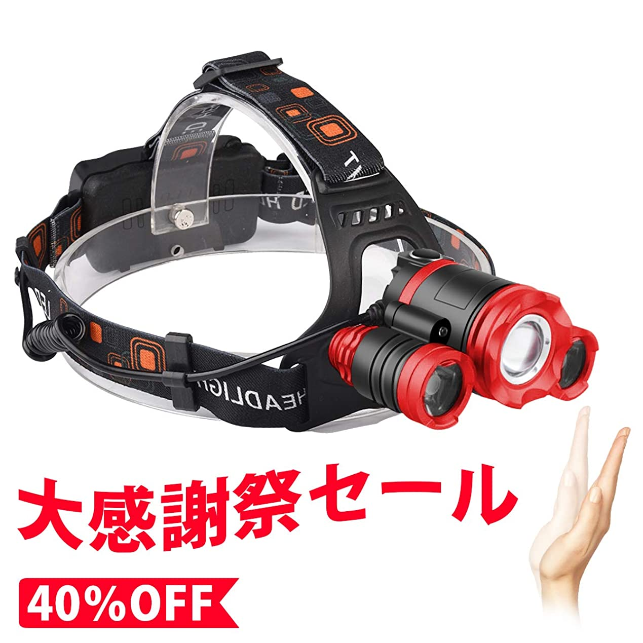 お客様予想外判読できないHoosoome LEDヘッドライト USB充電式 4点灯モード