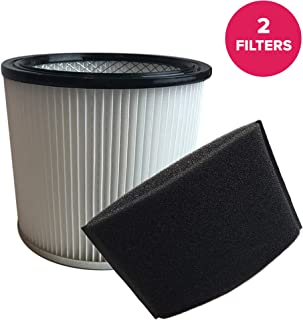 Think Crucial Replacements Cartridge Filter and Foam Sleeve Compatible with Shop-Vac Part 9030400 and 9058500, Fits 5 Gallon and Up Wet and Dry Vacuum – Bulk (2 Pack)