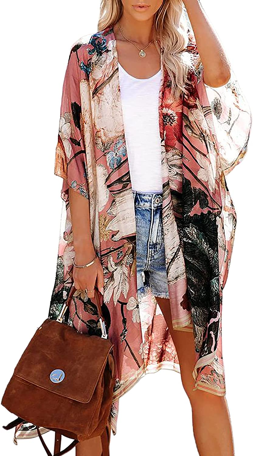Ivay Womens Floral Print Kimono Boho Beach Swimsuit Cover Up Casual Blouse Dusters Cardigan